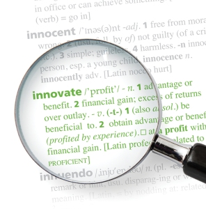 Innovation definition with magnifying glass